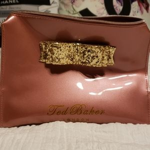 NWOT Ted Baker London pink w/gold glitter bow
